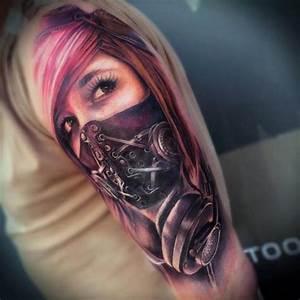 Tattoos Frauen Schulter : shoulder mask woman tattoo by sam barber ~ Frokenaadalensverden.com Haus und Dekorationen