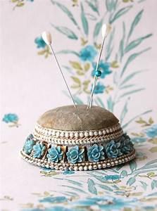 Vintage Pin Cushion Blue Rose | Sewing Art | Pinterest ...