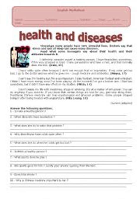 worksheets on health and diseases diseases worksheets