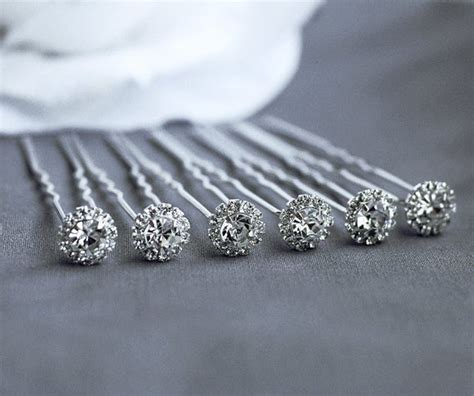 6 pcs Rhinestone Bridal Hair Pin Wedding Jewelry Crystal Bobby