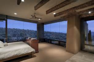 view interior of homes bedroom glass walls modern home in scottsdale arizona