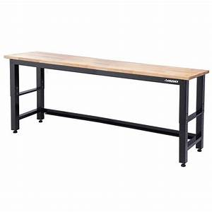 husky 8 ft solid wood top workbench g9600 us1 the home With wood bench legs home depot