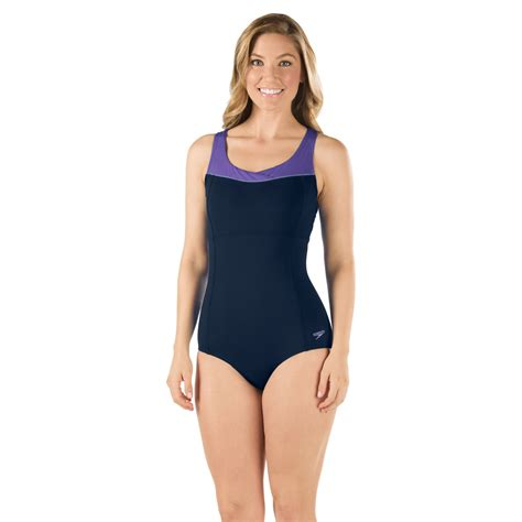 high neck piped  size speedo endurance swimsuit