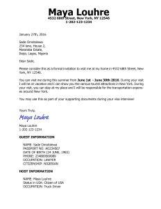 B1 B2 Visa Invitation Letter Sample - Cobypic.com