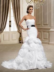 dramatic trumpet mermaid flower strapless chapel train With dramatic wedding dresses
