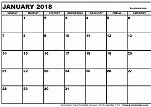 January 2018 Calendar Template | calendar printable free