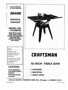 Manual  Craftsman Table Saw  Model 113