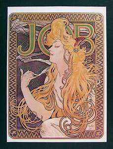 Alphonse Mucha Art Nouveau Print - Job Cigarette Papers Ad ...