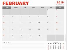 February 2019 Calendar for PowerPoint PresentationGOcom