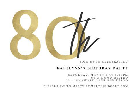 golden numerals  birthday invitation template