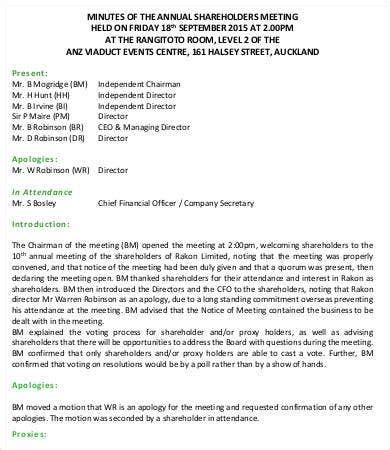 shareholder meeting minutes templates   word