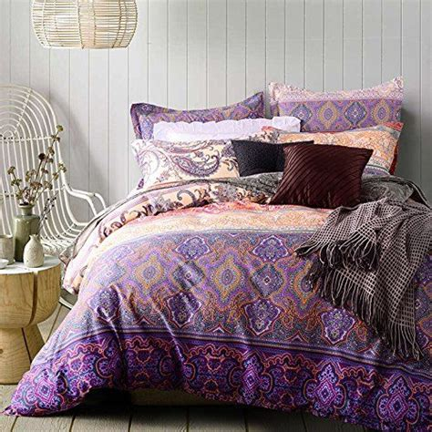 thefit paisley bedding  purple style boho bedding queen