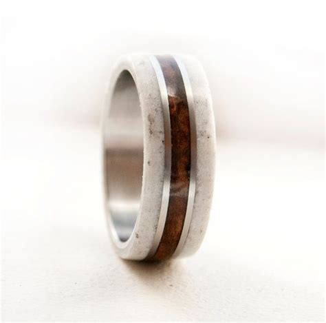 mens wedding band wood ring with antler and by
