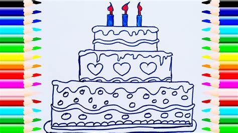 Como Dibujar y Colorear Una Torta de Cumpleaños Dibujos