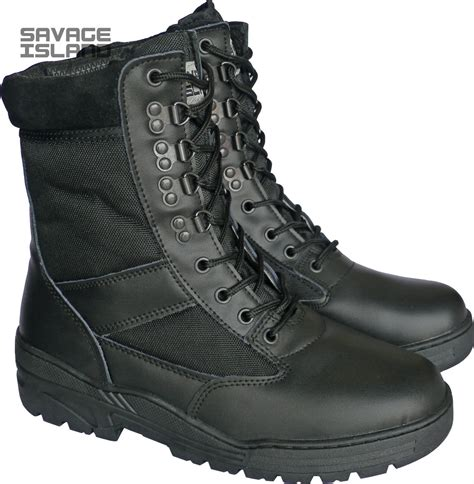 Army Semi Boot black leather army patrol combat boots tactical cadet