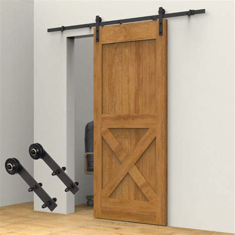 Barn Door Hardware Kit 8ft carbon steel sliding barn door hardware kit brown