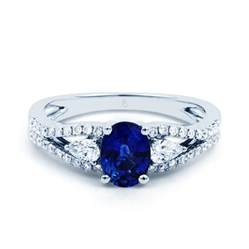 Diamond Engagement Ring with Sapphires
