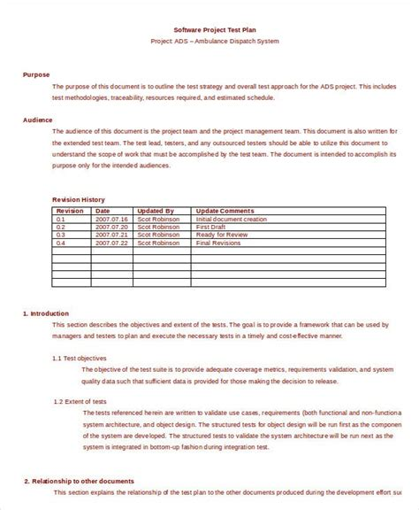 simple test plan templates word