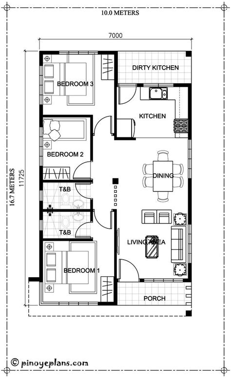 This 3 bedroom house design has a total floor area of 82