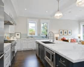 Gray Kitchen White Cabinets with Granite Countertops