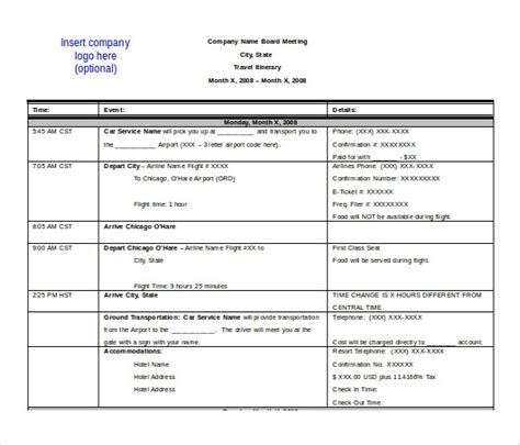 Travel Itinerary Templates For Pages by Microsoft Travel Itinerary Template Invitation Template