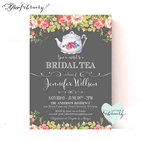 bridal shower tea bridal shower tea party invitations bridal by afterfebruary