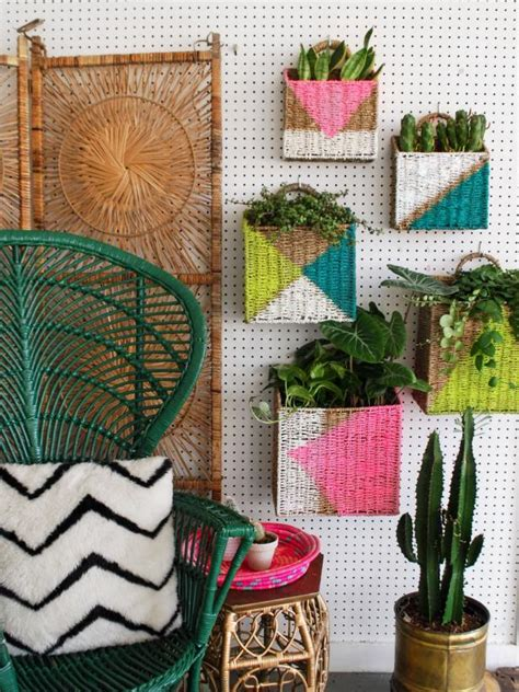 diy plant wall  colorful painted baskets hgtvs