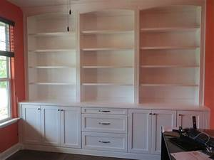 Decorating built in office bookshelves on pinterest for Shelves and cabinets