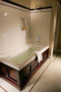 bathtub  wood panel front love  wood paneling