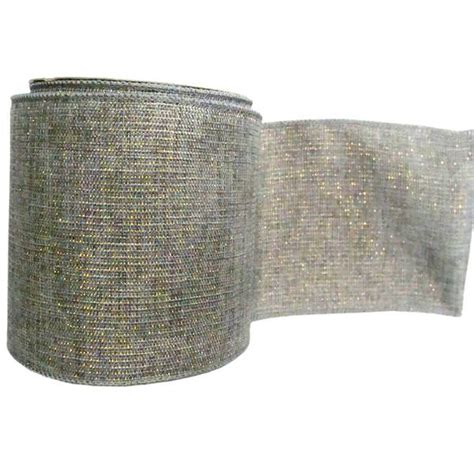 silver mesh christmas ribbon vickerman 35972 4 quot x 10yd gray mesh gold silver ribbon q146259 elightbulbs
