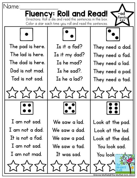 Fluency Roll And Read! Very Simple Sentences With Sight Words And Cvc Words For Beginning And