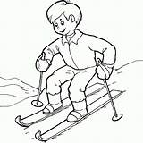 Coloring Skiing Kid Ski Skis Coloringsky Sky Fun Some sketch template