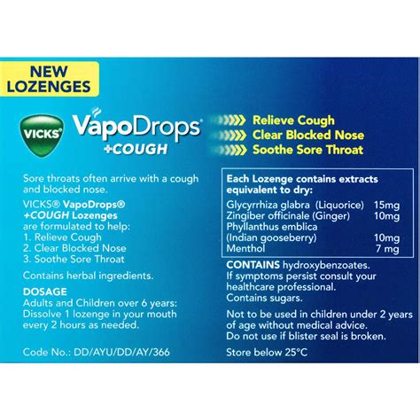 Vicks Vapodrops Cough Lozenges Honey Lemon Menthol 16pk