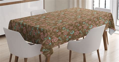 We offer fashion and quality at the best price in a more sustainable way. Brown and Blue Tablecloth, Floral Pattern with Swirls ...