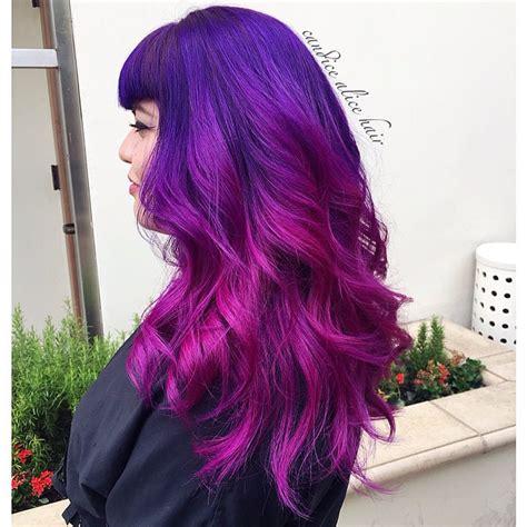 Long Pinup Hair In Purple And Pink Pravana Hair Colors