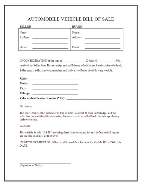 printable vehicle bill  sale template form generic