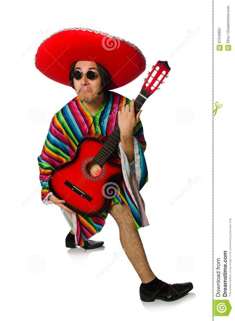 mexican guitar player isolated  white stock image