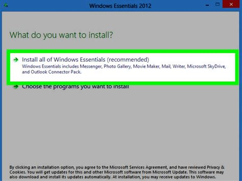 how to install microsoft windows essentials 2012 on windows 8