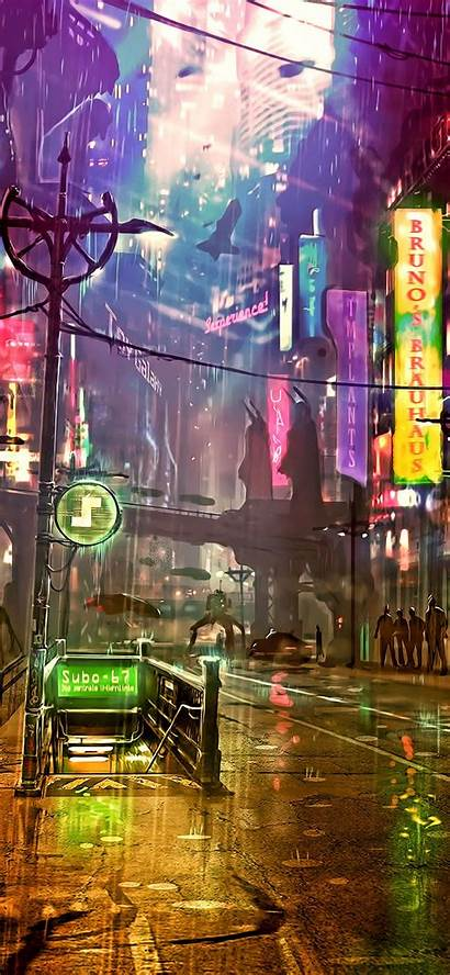 Neon Cyberpunk Street 4k Futuristic Iphone Wallpapers
