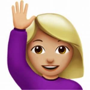 Woman Raising Hand: Medium-Light Skin Tone Emoji (U+1F64B ...