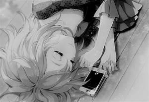 Black and white anime girl sleeping, IPod/IPhone next to ...