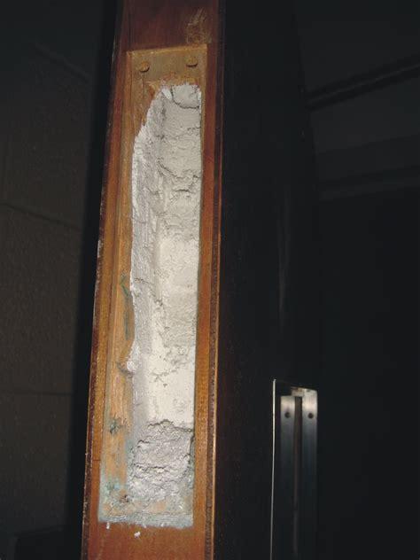 asbestos fire door core exposed edge  view  fire