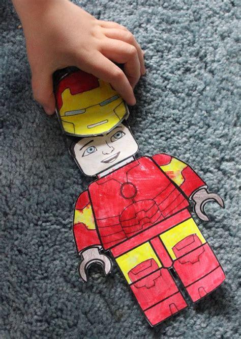 superhero lego paper dolls finger thumb