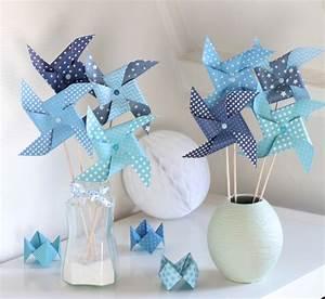 Moulin A Vent Deco Bapteme : 8 moulins vent dans un d grad de bleu accessoires de maison par latelierdesconfettis ~ Melissatoandfro.com Idées de Décoration