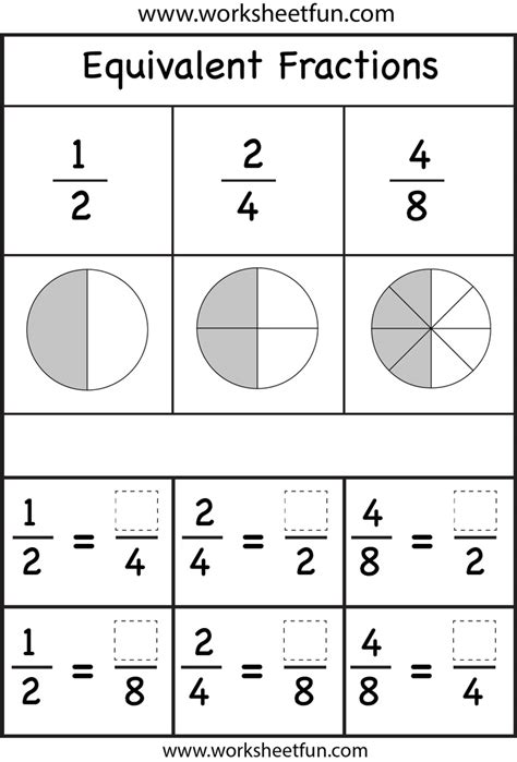 pairs of fractions that equal 1 worksheets fractions