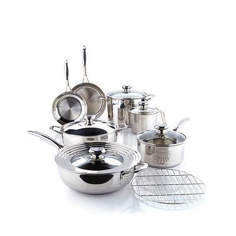hsn wolfgang puck bistro elite  piece stainless steel cookware set tvshoppingqueens