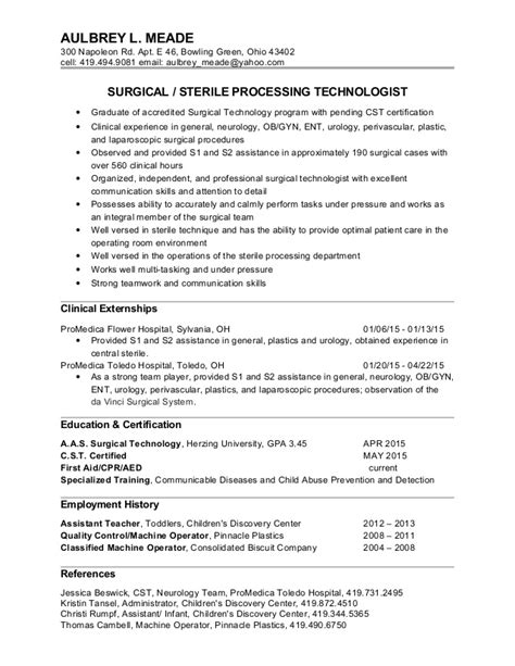 Surgical Technician Resume Exles by Aulbrey Meade Surgical Tech Resume