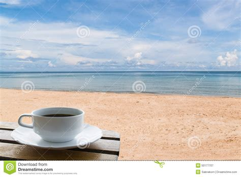 Coffee Cup On The Beach Stock Image. Image Of Beach Aeropress Coffee Best Grind Grinder Ranking Luwak United States Types Of Grinders World Championships Too Cold Alternative Good