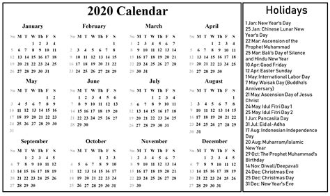 printable indonesia calendar excel word format