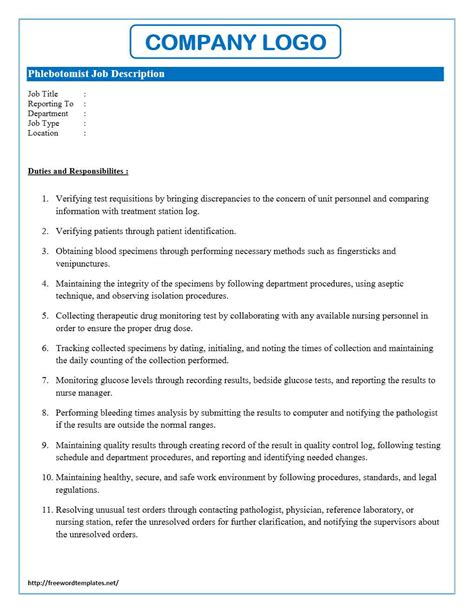 description template word phlebotomist description